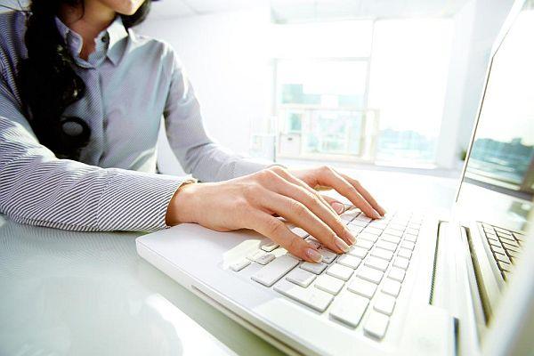 lady using internet