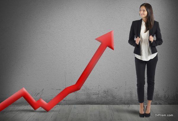 Businesswoman proud of its good financial profit