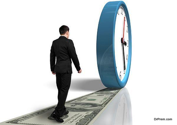 Walking on money way following rolling clock