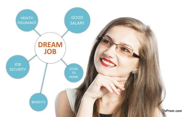 Dream job with benefits list and a young woman thinking at health insurance, good salary and job security