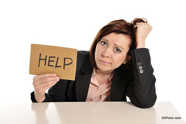 sad business red haired woman in stress at work asking for help isolated on white background