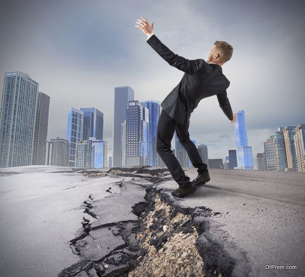 Businessman trying to overcome a deep break