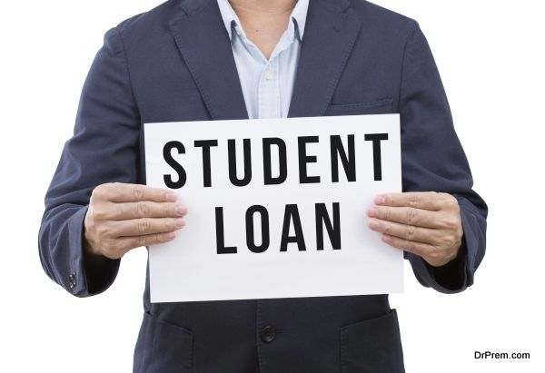 Business man hand holding student loan banner isolated on white background