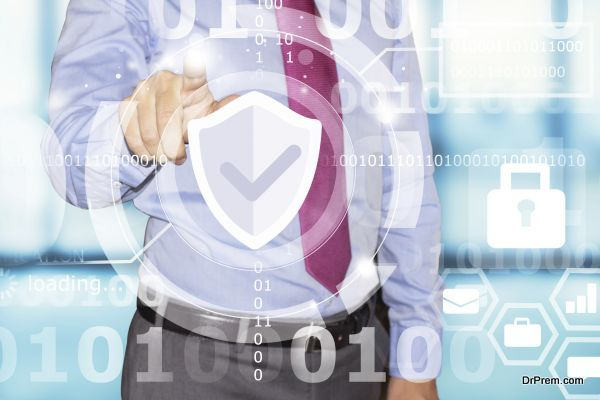 business man touching data security interface