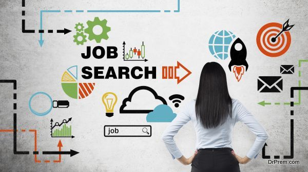 Rear view of the brunette woman who is looking at the wall with colourful icons about job vacancies. A concept of recruitment process. Internship and graduate programmes. Concrete wall.