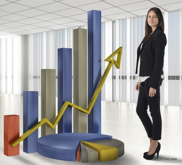 Businesswoman satisfied with the profit and productivity