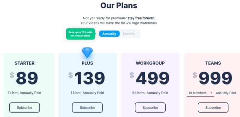 different plans for BIGVU