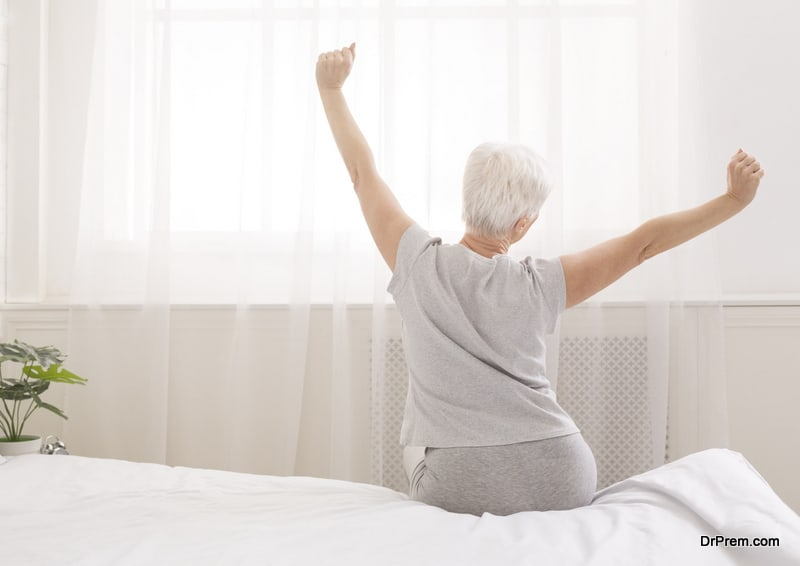 old woman waking up on time