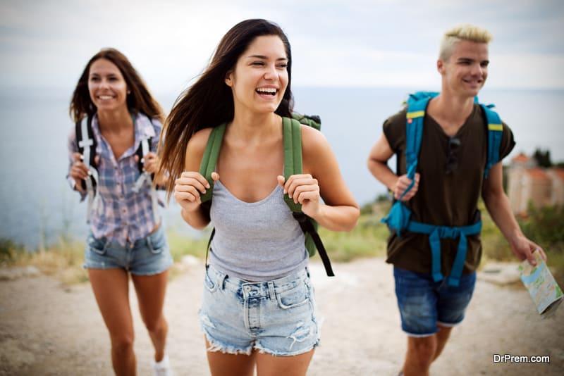 friends participating in trekking activity