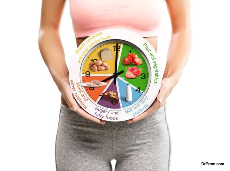 Beautiful, young woman holding a clock with food chart/eating schedule