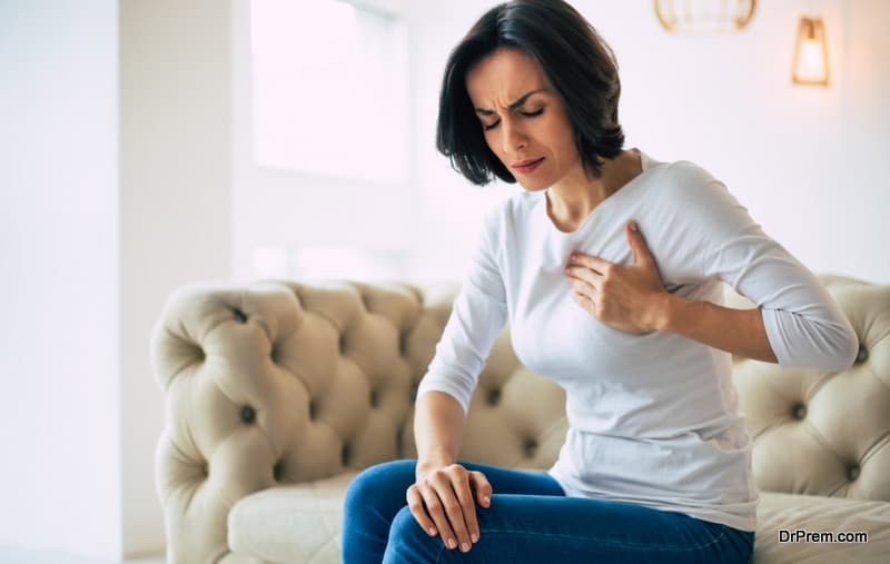 woman suffering from heart issues