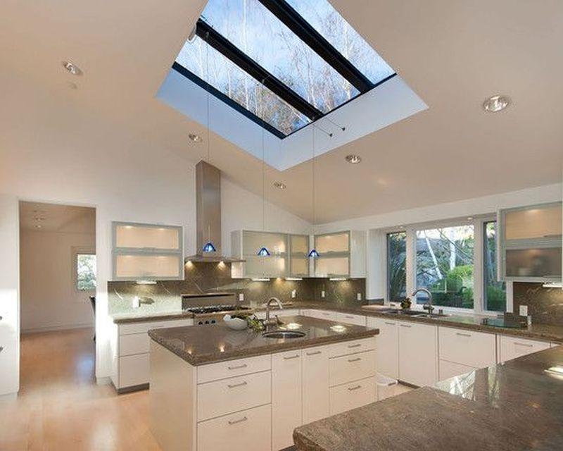 Ceiling windows along with a skylight