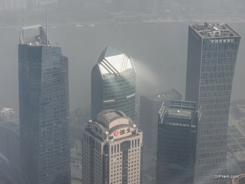 Lujiazui modern offices in heavy polluted air, Shanghai, China.