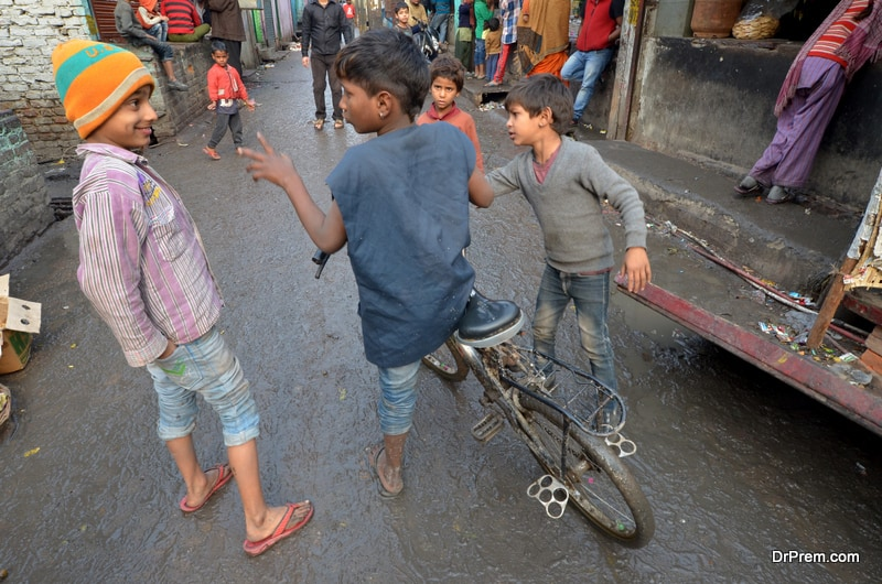 Children growing up in slums and crowded localities
