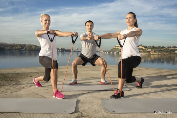 Active people exercising outdoor