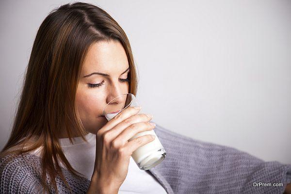 lady consuming milk