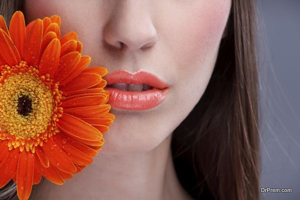 Close up of beautiful make-up woman's mouth