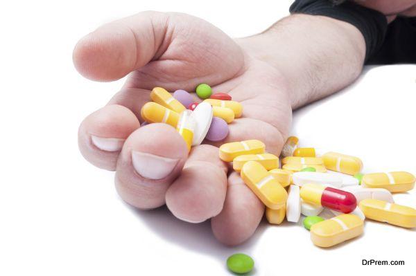 Pills addiction concept