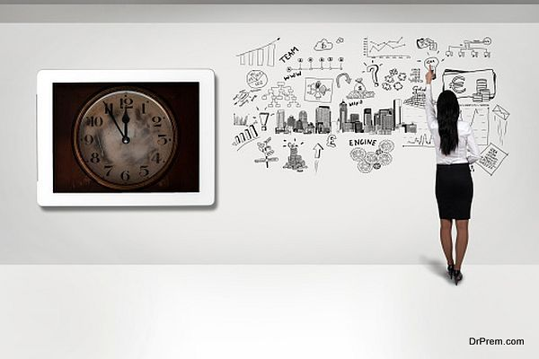 clock and business strategy on a wall
