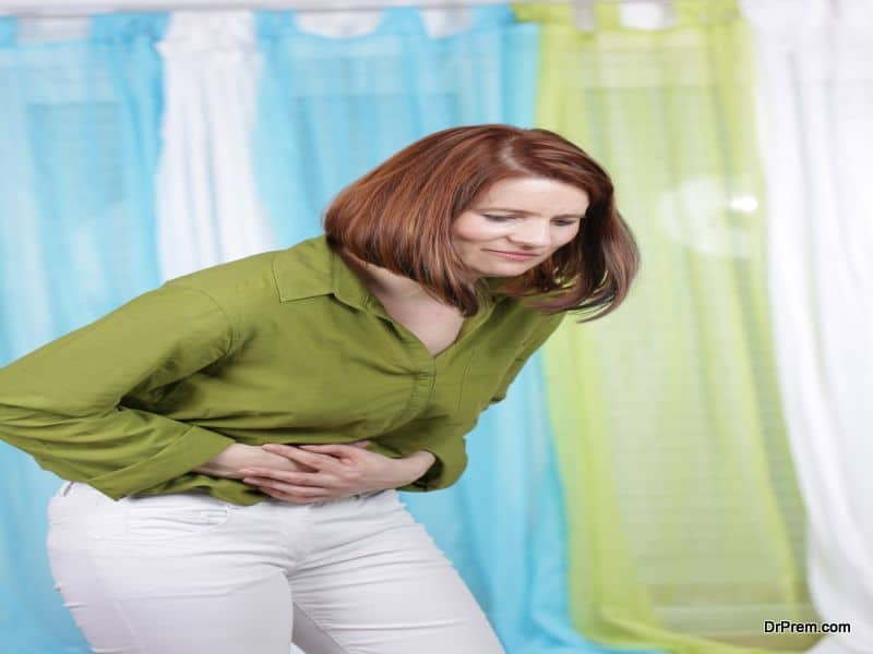 Woman with abdominal cramps