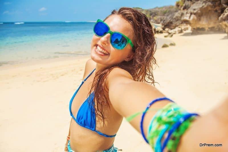 selfie on a beach