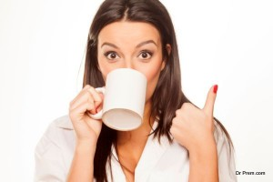 Girl having coffee