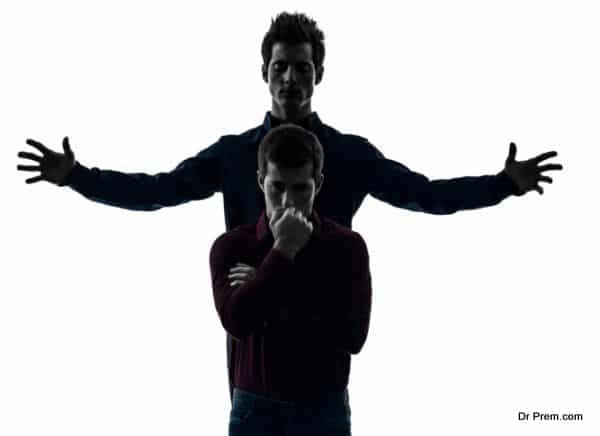 two men twin brother friends domination schyzophrenia concept silhouette