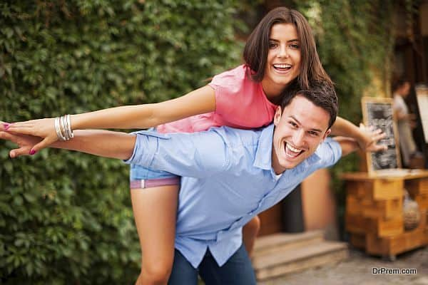 Young couple have fun during the date