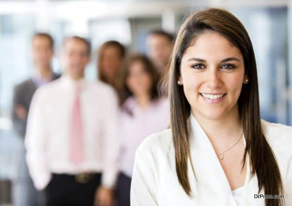 Woman leading business team