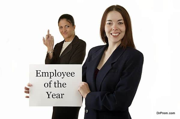 Jealous co-worker flips off another employee