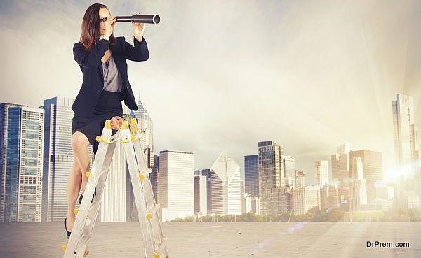 Enterprising businesswoman looking for new job goals