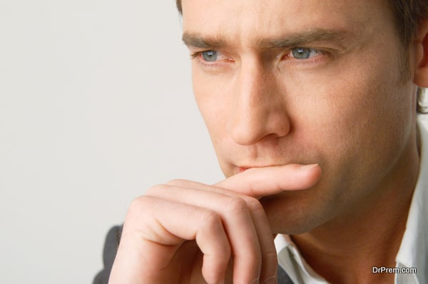 Man with pensive expression