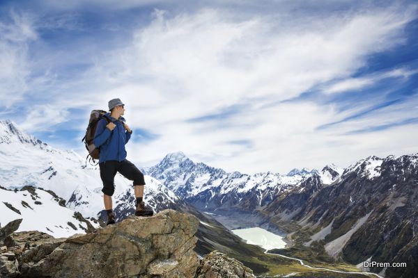 hiker with backpack and mountain panorama