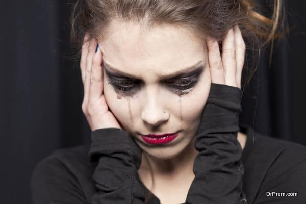 Beautiful young woman crying