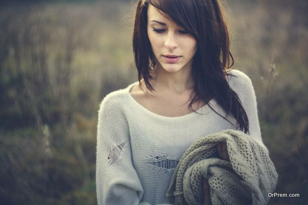 Beautiful girl freezing outdoor, autumn, cold, blue