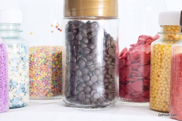 Multi-colored sweets in jars