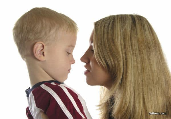 mother with sad boy