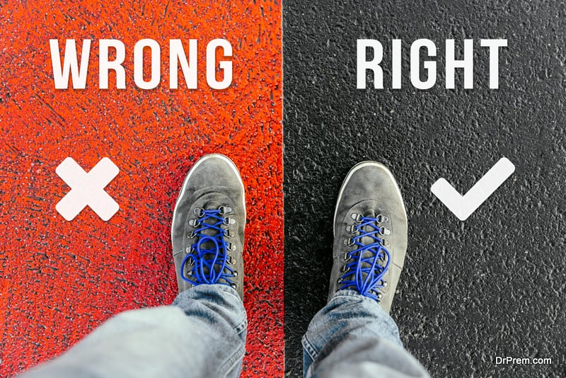 choose whether a task is right or wrong