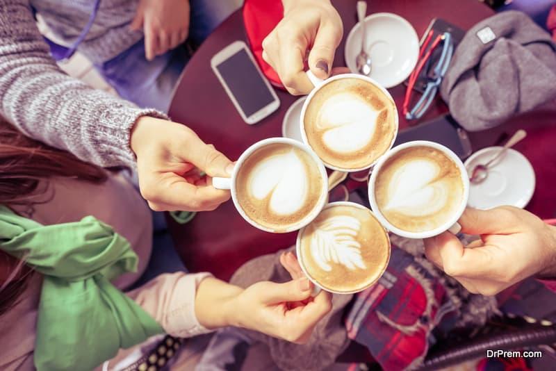 regular visits to a local café