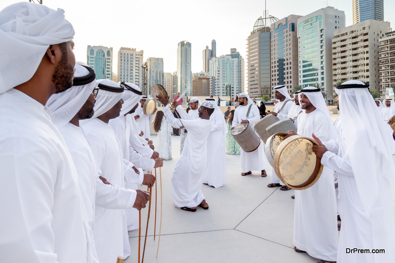 Traditional Emirati male Al Ayalah dance at Al Hosn Festival
