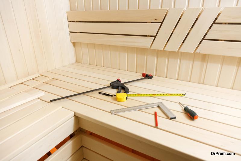 Sauna construction in progress
