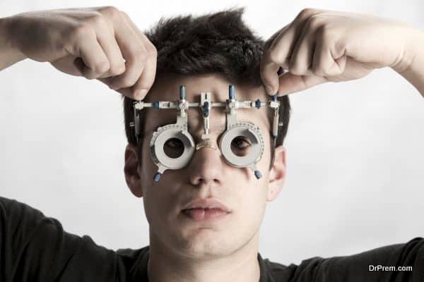Optometrist in exam