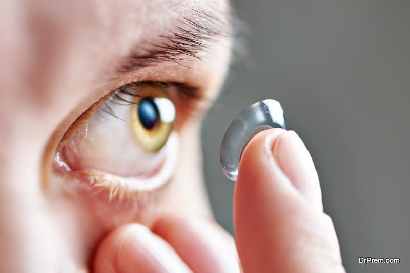 woman using special designed overnight contact lens