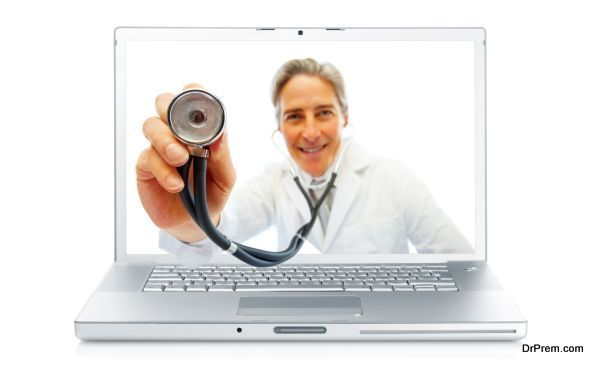 Digital composite - Elderly doctor holding stethoscope through a