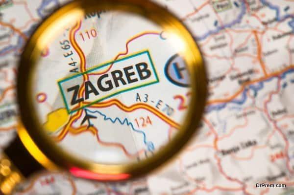 Zagreb on a map