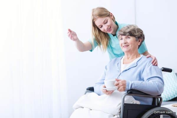 Woman take care of patient