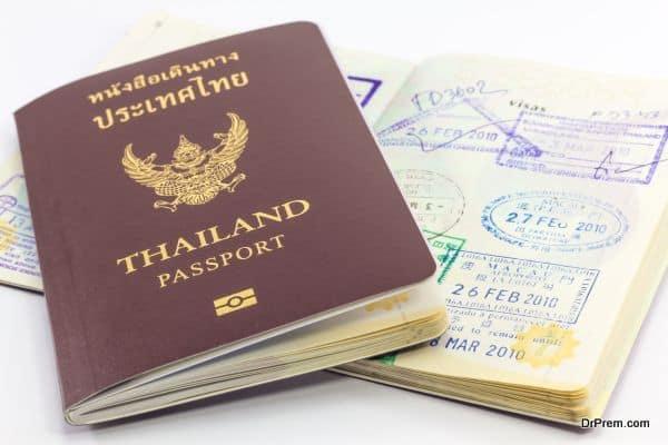 Thailand passport and visas.