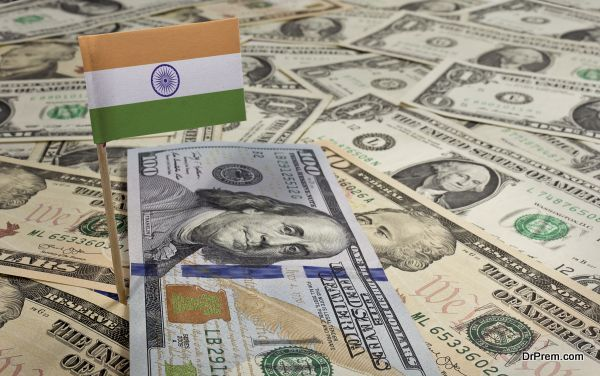 Flag of India sticking in various american banknotes.(series)