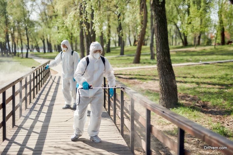 Sanitization, cleaning and disinfection of the city park