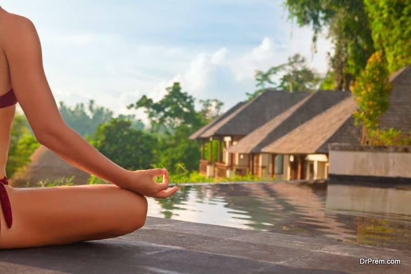 holidaying in luxury resort